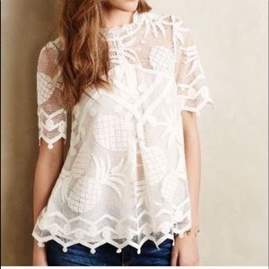 Anthropologie HD in Paris pineapple lace top Large